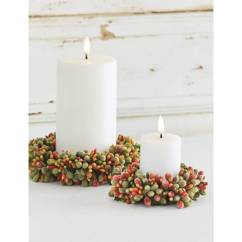 Fall Beaded Berry Candle Ring