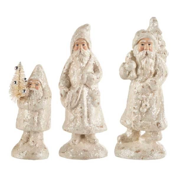 SALE!  White Glittered Santa Trio