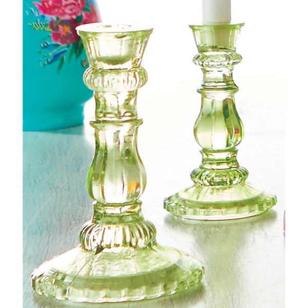 SALE!!  Green Glass Candlesticks