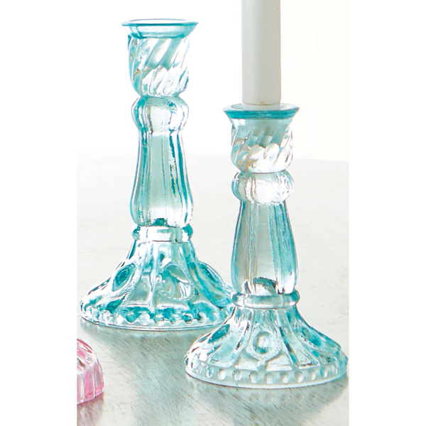 Blue Glass Candlesticks