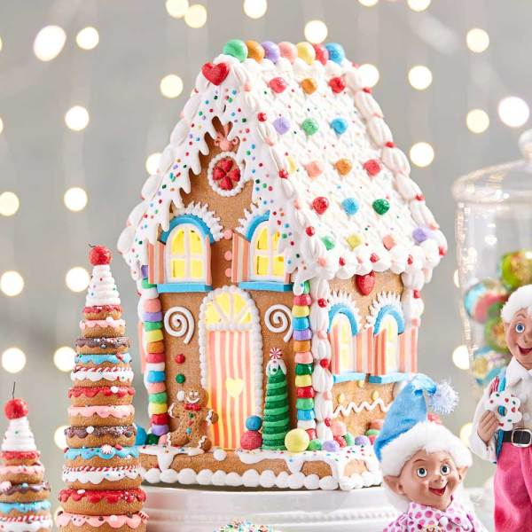 Pastel Lighted Gingerbread House