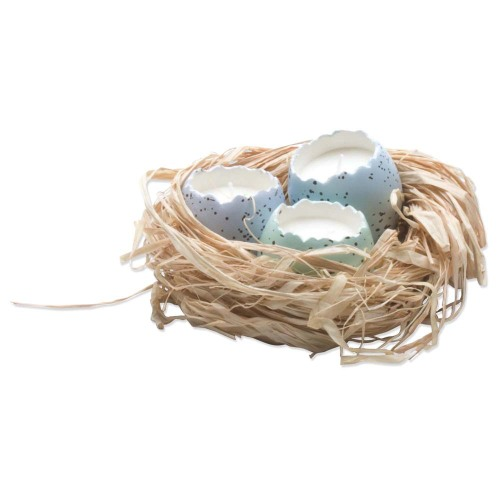 SALE!  Cracked Egg Candles in a Nest, Set of 3