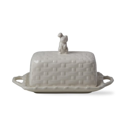 SALE!  Bunny Basket Weave Butter Dish