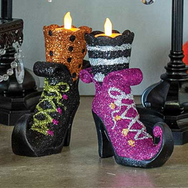 Glitter Witch Shoe Tealight Holders
