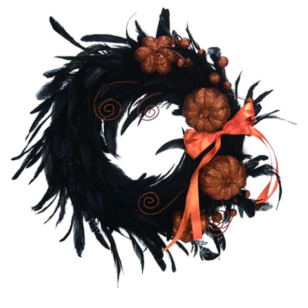 Black Feather Glitter Pumpkin Wreath
