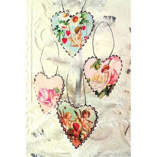 SALE!  Valentine Tin Heart Ornaments