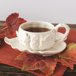 LTD QTY! White Pumpkin Cup & Saucer