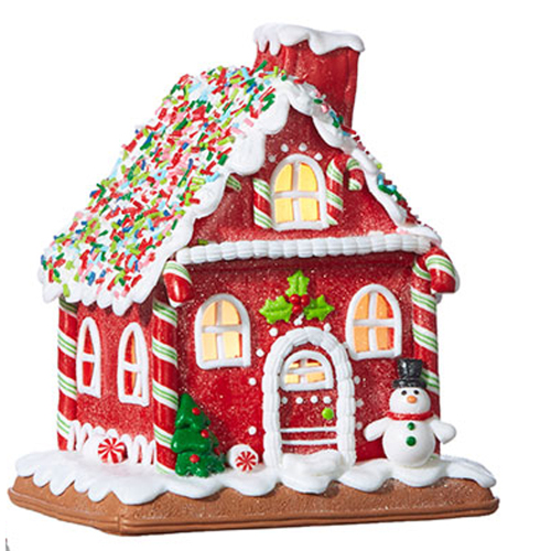 SOS!  Red Gingerbread Lighted House
