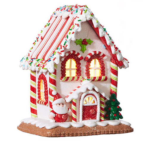 Pink Gingerbread Lighted House