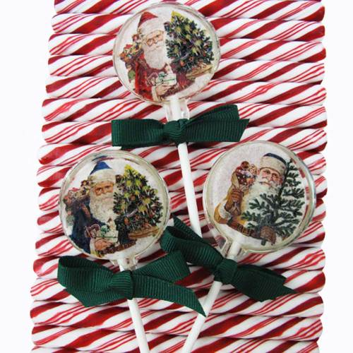 Vintage Christmas Lollipop Wafer Paper
