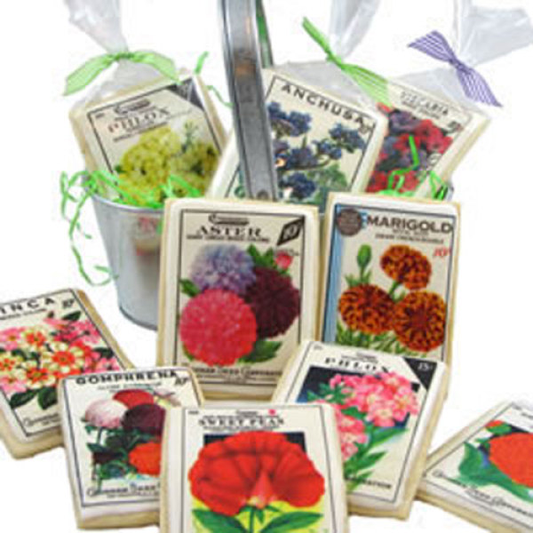 Vintage Flower Seed Packages Wafer Paper