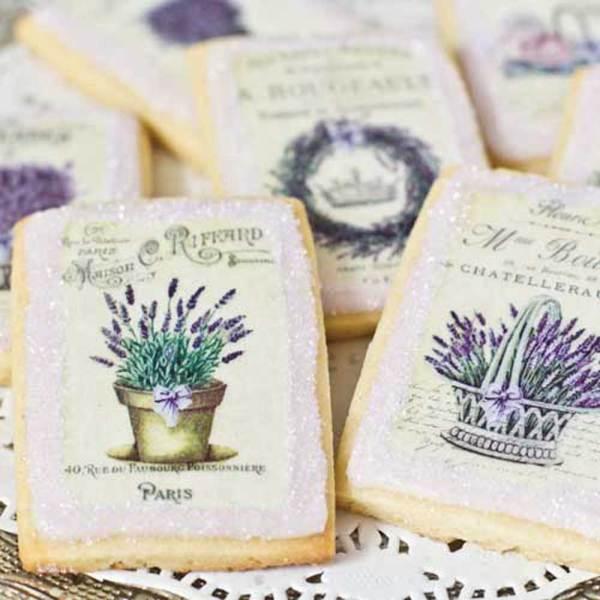 French Lavender Labels Wafer Paper