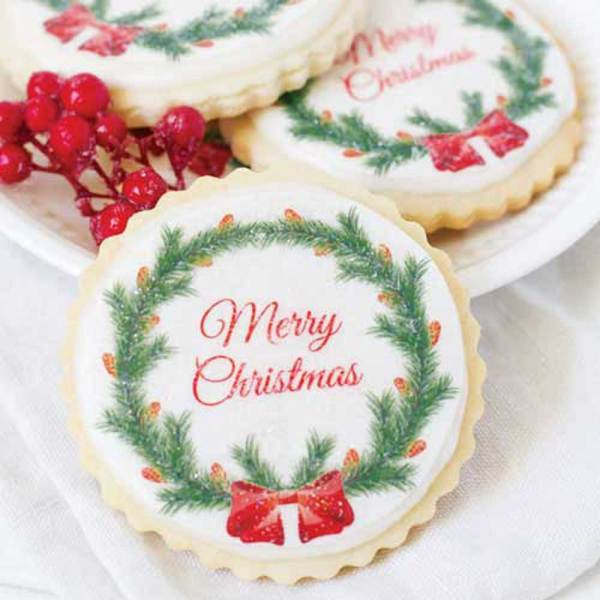 Merry Christmas Wreath Wafer Paper