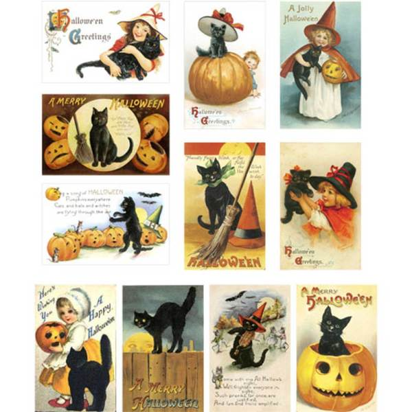 Black Cat Mini Postcards Wafer Paper