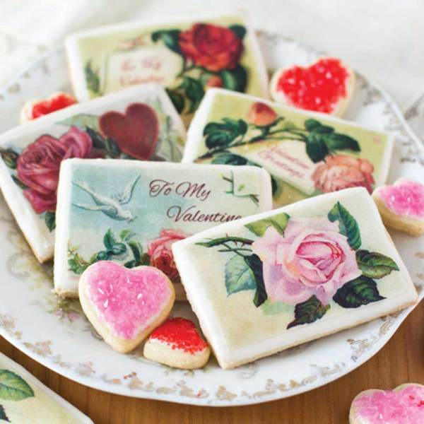 Valentine Roses Mini Postcard Wafer Paper