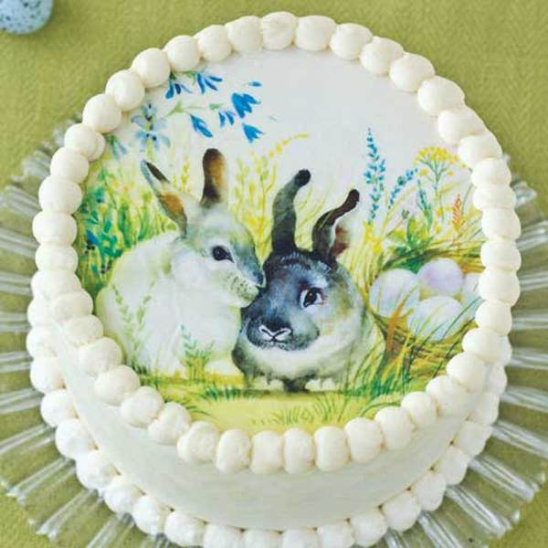 Easter Bunnies Wafer Paper Cake Topper 8""
