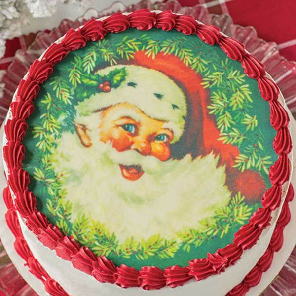"Jolly Santa 8"" Cake Topper Wafer Paper"