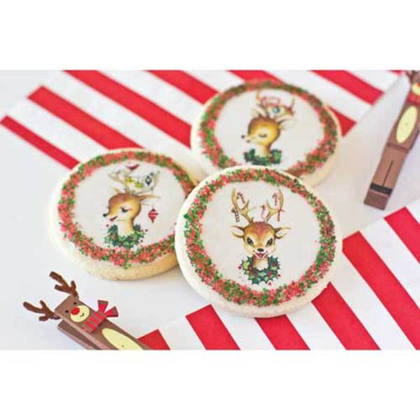 Retro Reindeer Wafer Paper, 24 Images