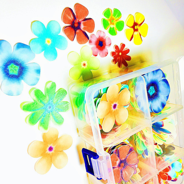 LTD QTY! Bright Flowers Wafer Paper Shapes