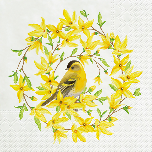 Forsythia & Bird Lunch Napkins