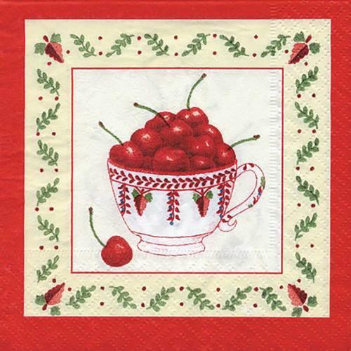 Cherries in Teacup Beverage Napkins