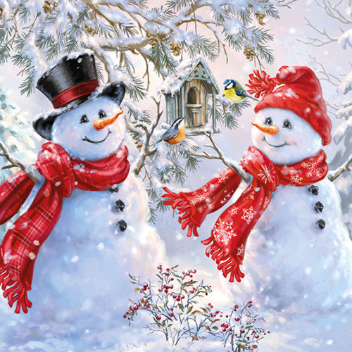 Snowmen & Birds Lunch Napkin