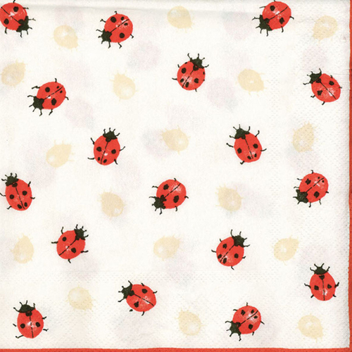 LTD QTY!  Ladybugs Creme Lunch Napkins
