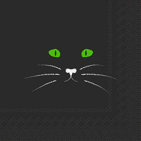 SALE!  Black Cat Face Cocktail Napkin