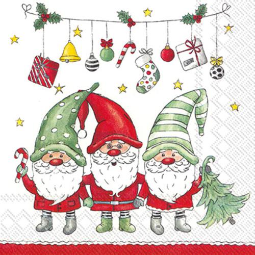 Christmas Gnomes Trio Cocktail Napkins