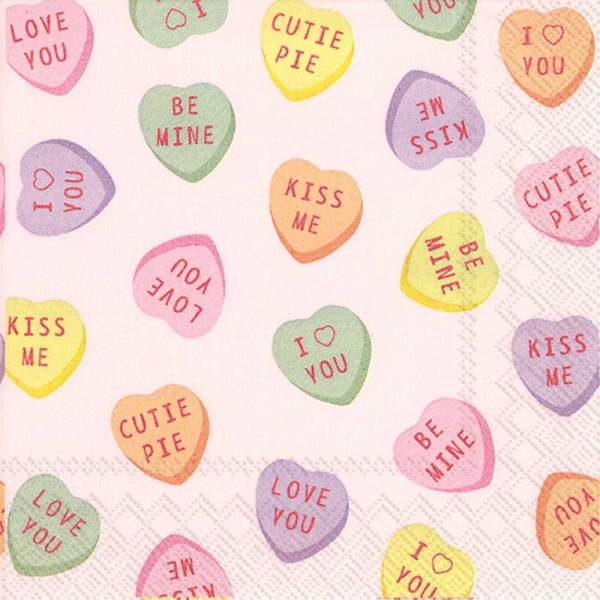 LTD QTY! Sweethearts Candy Cocktail Napkin