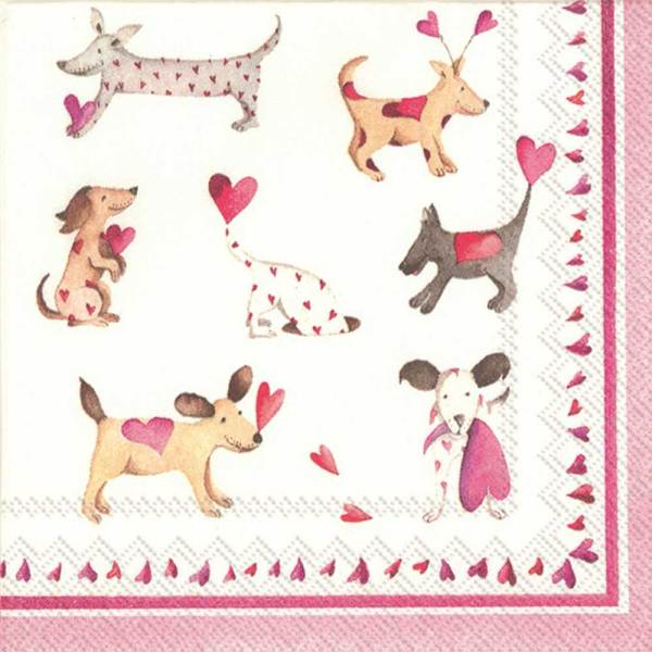 SALE!  Love Heart Dogs Cocktail Napkins