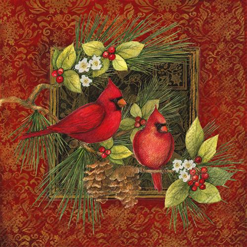Botanical Christmas Birds Lunch Napkins