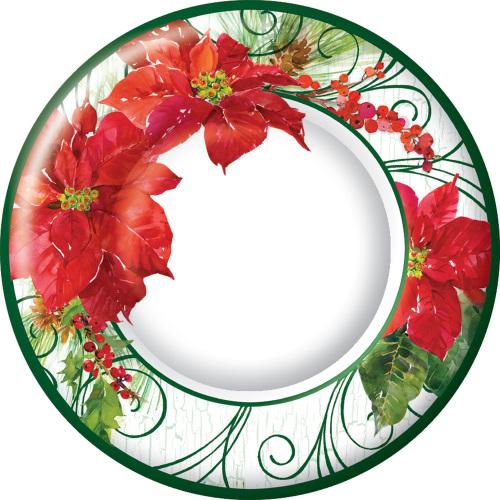 Poinsettia Crackle Dessert Plate