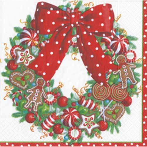 Cookie Wreath Paper Lunch Napkins