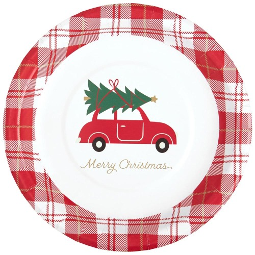 Red Car with Tree Paper Lunch Plates
