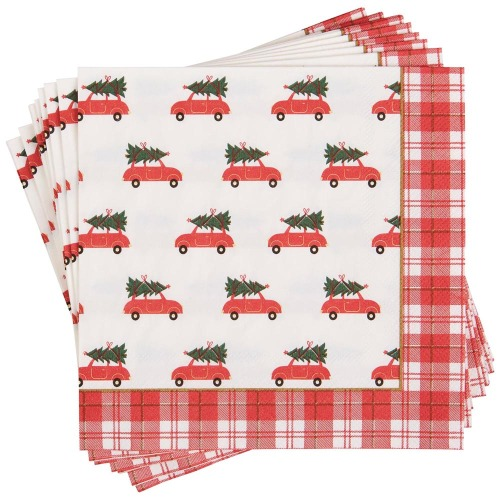 Red Car with Tree Paper Lunch Napkins