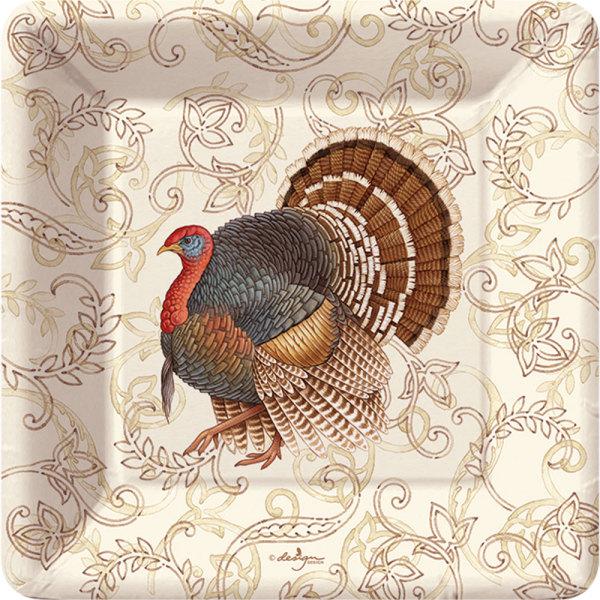 LTD QTY!  Filigree Turkey Dessert Plates