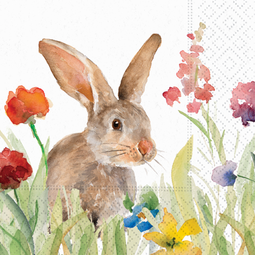 Wildflower Bunny Beverage Napkin