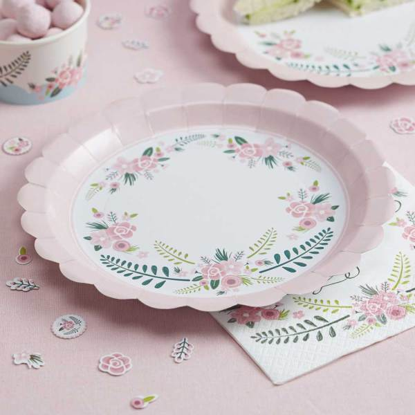 Floral Fancy Pink Paper Plates