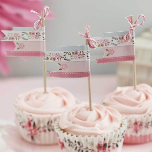LTD QTY  Floral Fancy Cupcake Picks