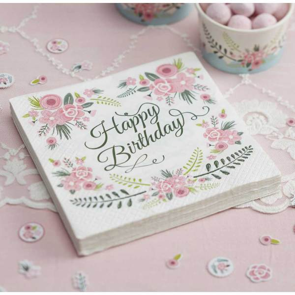Floral Fancy Happy Birthday Napkins