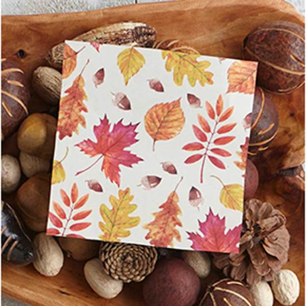 LTD QTY!  Leaf Lunch Napkins