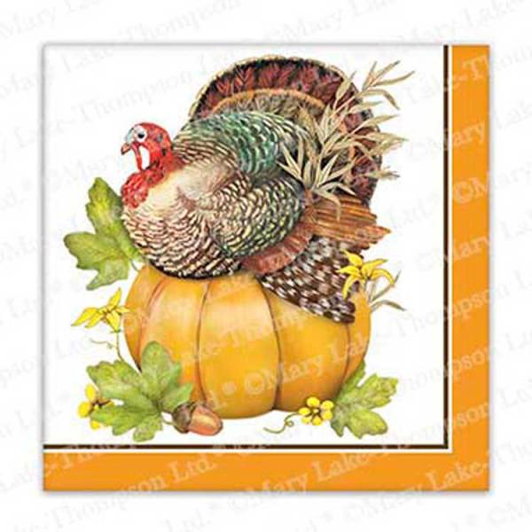 SALE!  Turkey On Pumpkin Paper Beverage Napkin