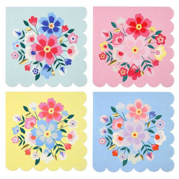 SALE!!  Bright Flower Lunch Napkins