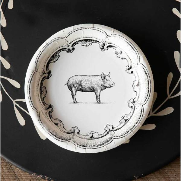 SALE!  Black & White Pig Paper Dinner Plates