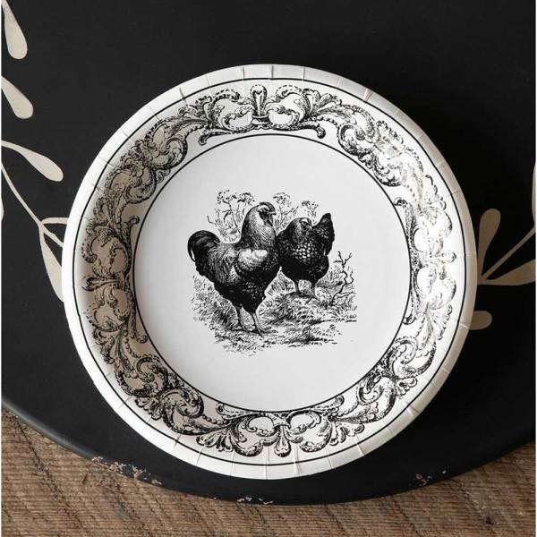 SALE!  Rooster & Hen Paper Dinner Plates