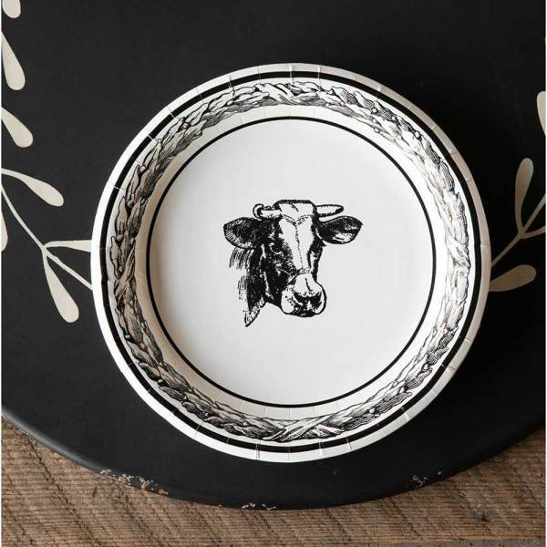 SALE!  Dairy Cow Paper Dinner Plates