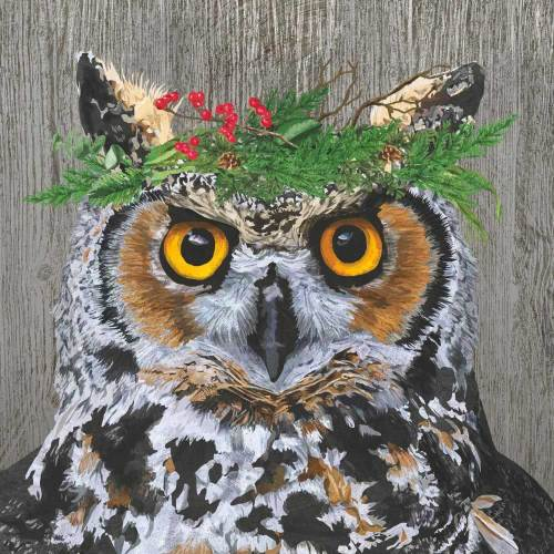 Owl Winter Berry Lunch Napkins