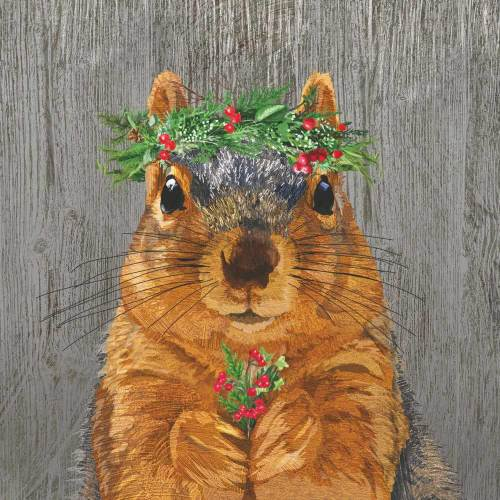 Squirrel Winter Berry Lunch Napkins