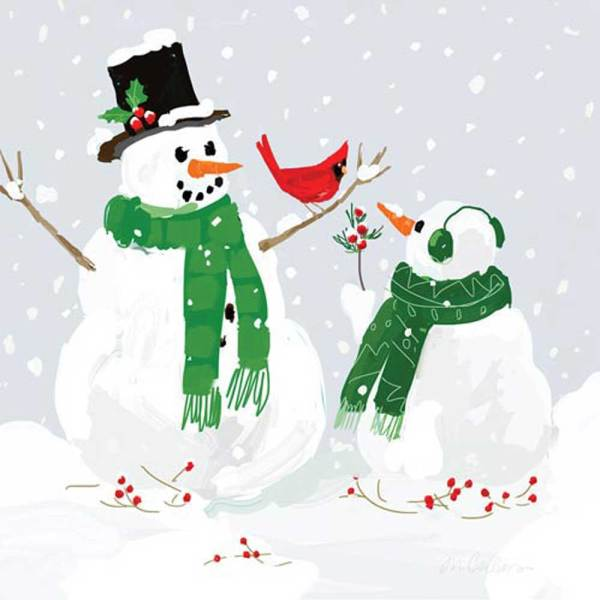 LTD QTY!  Snowmen & Cardinal Lunch Napkins